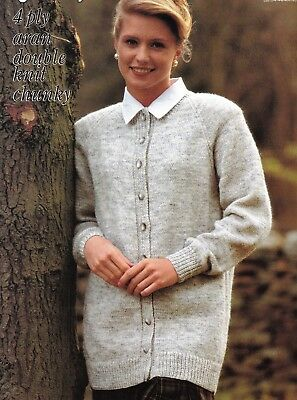 2f88ca0421e63a LADIES CHUNKY   DK Knitting Pattern Aran Jacket Sweater Hat 32-40 ...