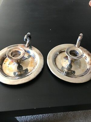 Two William A Rogers Silver plate Candlesticks