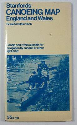 1973 Old Vintage Stanfords Canoeing Map England & Wales 14 Miles = 1 Inch
