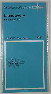 1960 old vintage OS Ordnance Survey 1:25000 First Series Map SN 73 Llandovery