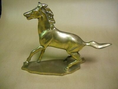 "Brass Running Horse Statue / Figurine 10.75"" Long x 7.75 tall"