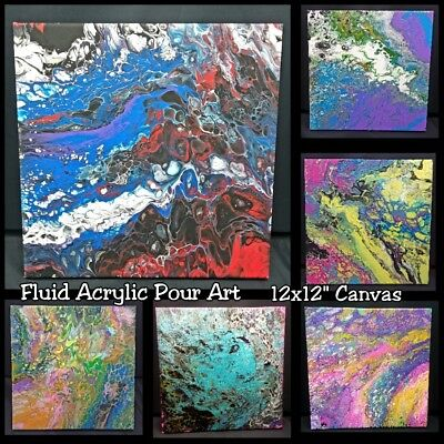 """Original Fluid Acrylic Pour Abstract Art Painting on 12x12"""" Stretched Canvas"""