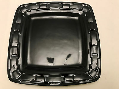 Longaberger Woven Traditions Pottery Soft Square dinner plate - EBONY - Used