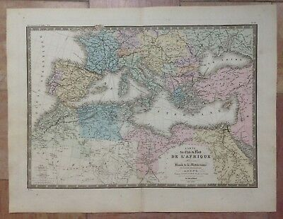 NORTH AFRICA ALGERIA MEDITERRANEE by BRUE LARGE ANTIQUE ENGRAVED MAP 19e CENTURY