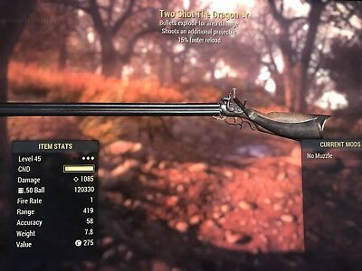 Fallout 76 - Two Shot Explosive Faster Reload The Dragon!! (PS4) +15000 Ammo