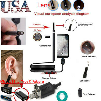 USB Ear Cleaning Endoscope Visual Earpick With Mini Camera Earwax Removal Tool