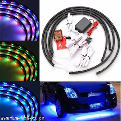 7 Color LED Strip Car Under Glow Underbody System Neon Light Kit