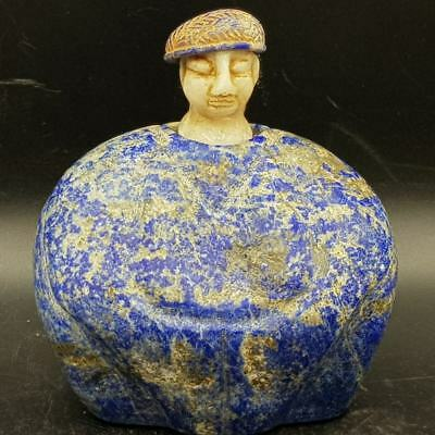 Ancient bactrian Rare Unique Wonderful Lapis lazuli Stone King seated statue