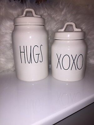 New Rae Dunn LL XOXO And HUGS Valentines Day Canisters