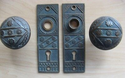 Antique Pair of Eastlake Door Knobs & Back Plates, Cast Brass, 1 5/8 X 5 1/4, #2