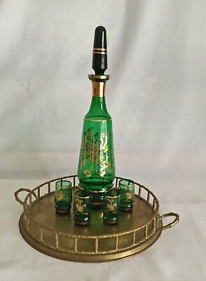 Vintage Green Glass Liquor Decanter Cordial Set Gold Floral Design