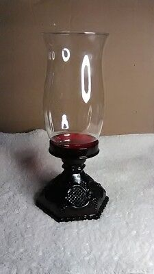 ruby red Avon  table items - candle holder with chimney