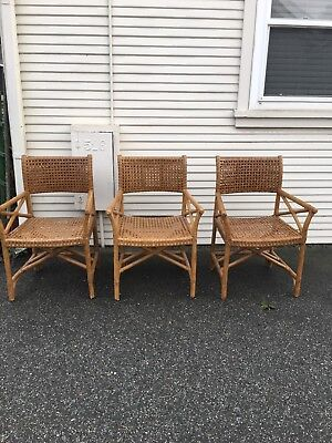 Mid Century Bamboo  Chair, McGuire Or Style Arm Chairs Lot Of 3