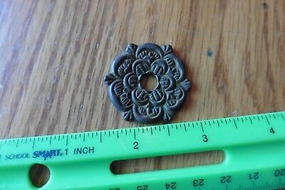 brass knob back plate Vintage ornate antique style floral flower pull lamp part