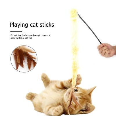 Pet Cat Plush Feather Stick Catcher Wand Interactive Playing Teaser Rod Fun Toy
