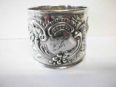"Serviettenring-835 Silber-Initiale ""J""- Art Nouveau solid silver napkin ring"