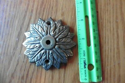 Cast brass knob back plate Vintage ornate antique floral flower pull lamp part