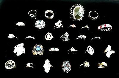 Vintage Lot of 28 Costume Jewelry Gold & Silver tone Rings