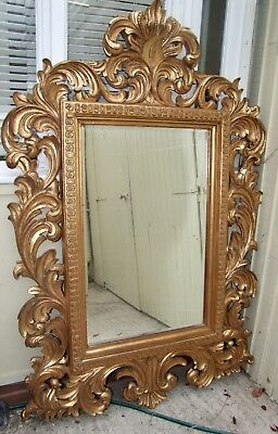 Large Ornate And Decorative Carved Gilded Wood Mirror