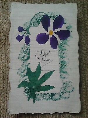Wwi  Hand Painted Floral Postcard January 1918 Soldiers Trenches Battlefront