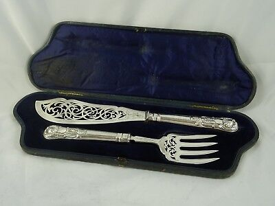 BOXED. `KINGS` pattern VICTORIAN silver FISH SERVERS, 1889