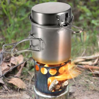 Outdoor Camping Hiking Stove Cooking Pot Set Stainless Steel Tableware Cookware