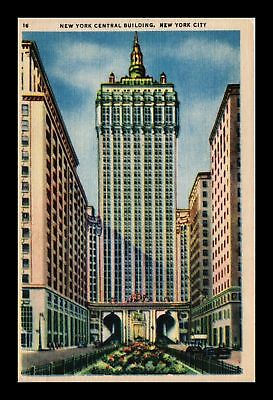 Dr Jim Stamps Us New York Central Building New York City Linen Postcard