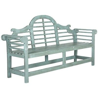 Acacia Wood Garden Bench w/ Raised High Back Vintage Style Beach Ocean Blue NEW!
