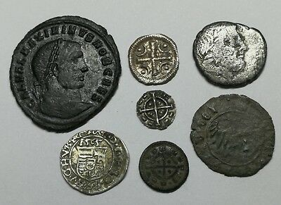 Ancient Roman & Medieval Silver & Copper Coins LOT- 7 ps NICE / VERY NICE PIECES