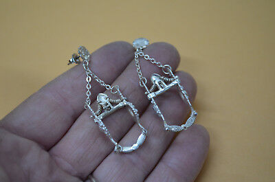 OUTRAGEOUS Sterling Silver Detailed Horse Bit Dangle Earrings for Pierced Ears
