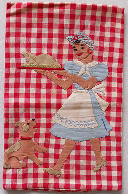 Black Americana Tea Towel Mammy Carrying Turkey With Dog Cooking Vintage