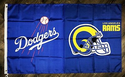"""Los Angeles Rams vs Dodgers """"House Divided"""" FLAG 3x5 ft Banner Man-Cave NFL NEW"""