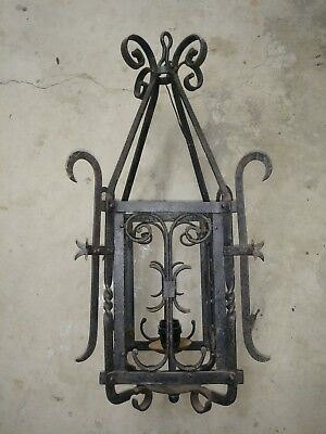 Vintage Rustic Wrought Iron Cage Style Hanging Light.. It Weighs Over 14 lbs!!