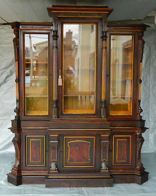Fantastic Rosewood Victorian Renaissance Triple Door Bookcase~~Display Cabinet
