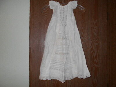 """Antique baptismal baby gown, white, lace, handmade, 28"""" long"""