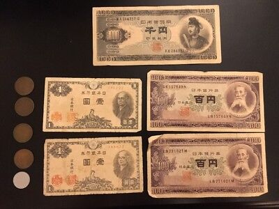 Japanese Currency Yen Paper Coin Money 1950s