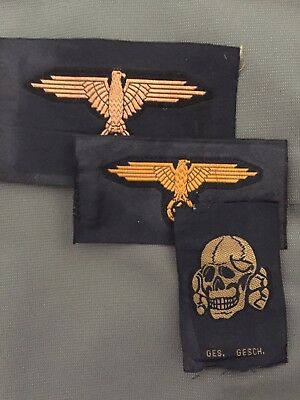 ww2 german reproduction militaria  Waffen SS Shoulder Eagle & Hat Patches, Tan