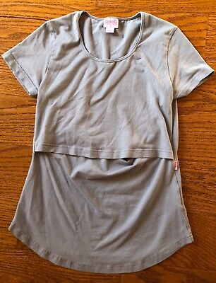 Boob Brand Nursing Maternity Short Sleeve Shirt Size Medium Gray