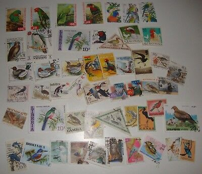 Small Collection 50 Worldwide Thematic Stamps - Birds, Used,