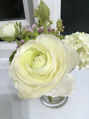 Sia Silk Artificial Flowers In Small Glass Vase Rose Hydrangea