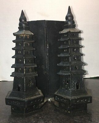 Pair of Cast Iron Pagoda Bookends - Home Decor Pagoda Bookends