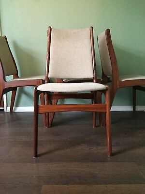 Four Solid Teak Midcentury Dining Chairs Danish Style