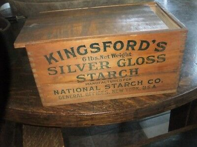 Vintage Advertising Box Kingsford's Silver Gloss Starch Dovetailed Nice Estate