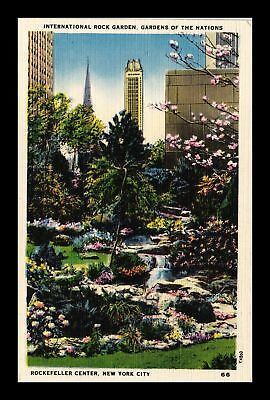 Dr Jim Stamps Us International Rock Garden New York City Linen View Postcard