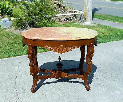 Walnut Victorian Marble Top Turtle Top Parlor Center Lamp Table c1860