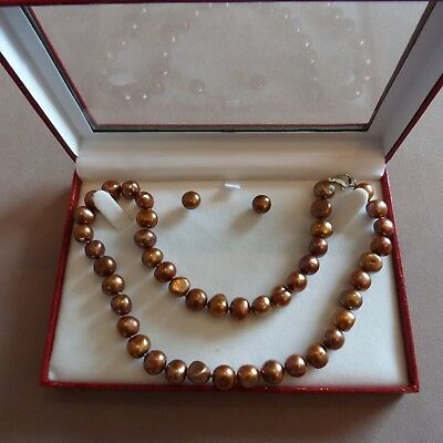 Baroque Freshwater Pearl Necklace & Earrings NIB - Perfect Gift