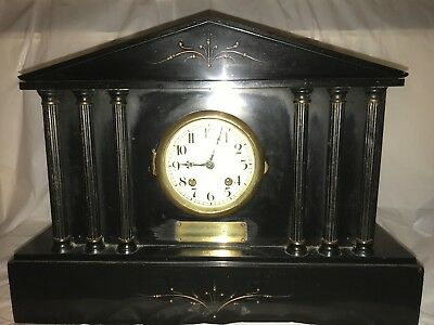 Antique  Black slate Mantle Clock Chimes,presentation 1921 tovil paper mill maid