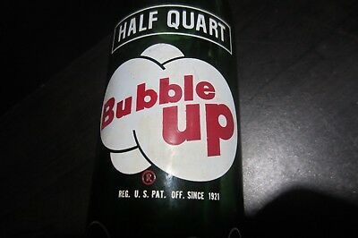 Very Sweet Vintage ACL *BUBBLE UP* Soda Bottle / 1/2 Quart / Patent 1921 / Green