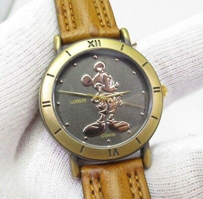 MICKEY MOUSE, Copper Emboss Dial, Brass Buckel, Rare!,MEN'S CHARACTER WATCH,1926