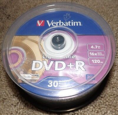 Verbatim Lightscribe DVD+R 26 of 30 Pack 4.7GB 16x Speed 120 Min RW